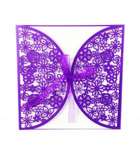 Faire-part mariage Romantique Violet 10 pcs