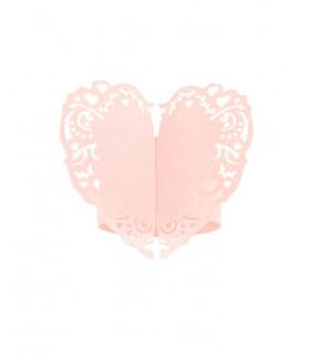Rond de serviette mariage,baptême Coeur Rose 12 pcs
