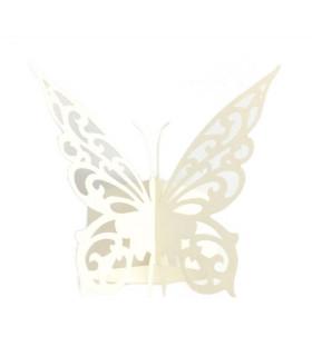 Rond de serviette mariage,baptême Papillon chic Ivoire 12 pcs
