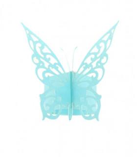 Rond de serviette mariage,baptême Papillon chic Bleu Ciel 12 pcs