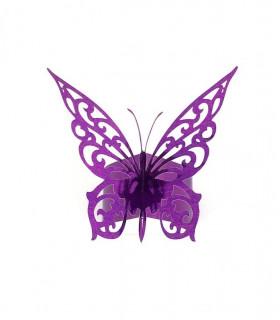 Rond de serviette mariage,baptême Papillon chic Violet Métalisé 12 pcs