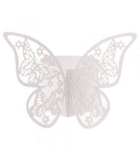 Rond de serviette mariage,baptême Papillon Blanc 12 pcs