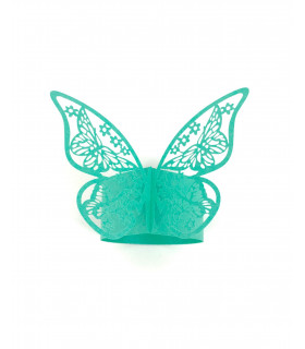 Rond de serviette mariage,baptême Papillon Turquoise 12 pcs