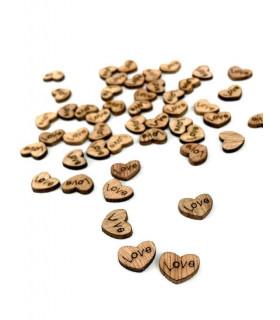 Confettis de table coeur 10mm Bois 50 pcs