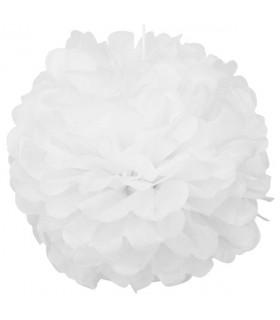 Pompon deco salle papier de soie Blanc