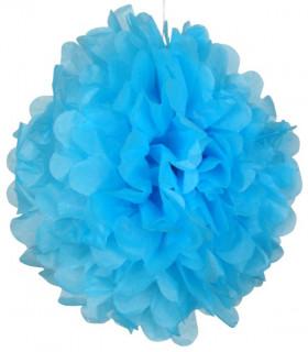 Pompon deco salle papier de soie Bleu Azur