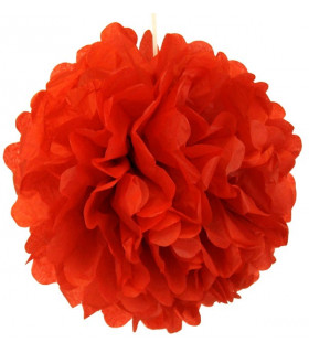 Pompon deco salle papier de soie Rouge