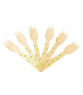fourchettes bois motif pois jetable, eco-friendly Vert 10 pcs