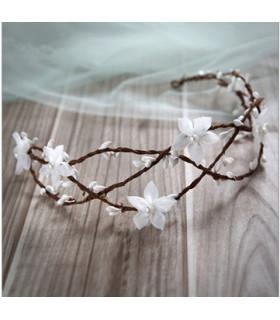 coiffe mariée couronne cheveux perle, fleurs Blanche