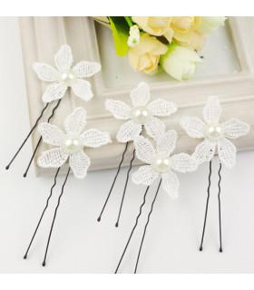 coiffe mariée Epingle cheveux fleur et perles Blanche 6 pcs