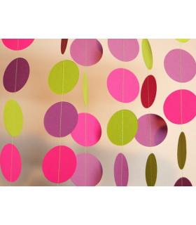 Guirlande tricolore deco murale Fuchsia/Bordeau/Vert