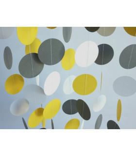 Guirlande tricolore deco murale Jaune/Blanc/Gris