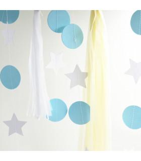 Guirlande Rondelle/Etoile Bicolore deco murale Bleu/Blanc