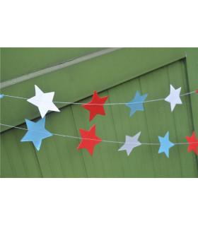 Guirlande étoile tricolore deco murale Bleu/Blanc/Rouge