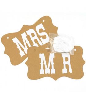 Pancarte Mr et Mrs deco salle, animation  Kraft 2 pcs
