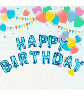 Ballon Anniversaire Happy Birthday deco salle, animation Bleu