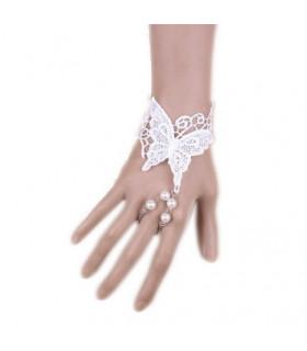 Bijoux mariée bracelet et bague dentelle et papillon Blanc
