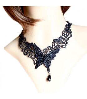 Bijoux collier dentelle papillon Noir