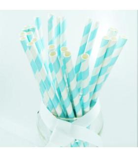 Pailles rayées en papier Bleu Ciel Et Blanc 25 pcs