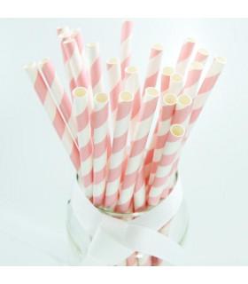Pailles rayées en papier Rose Et Blanc 25 pcs