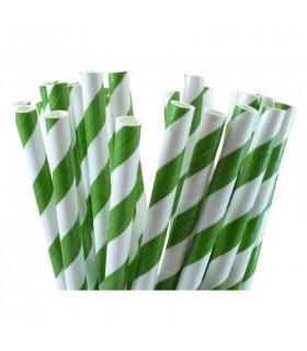 Pailles rayées en papier Vert Et Blanc 25 pcs
