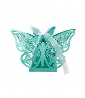 Contenant dragées papillon baptême Turquoise 10 pcs