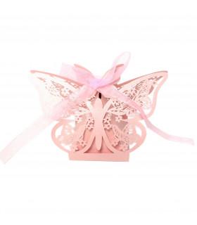 Contenant dragées papillon Rose 10 pcs - fin de série