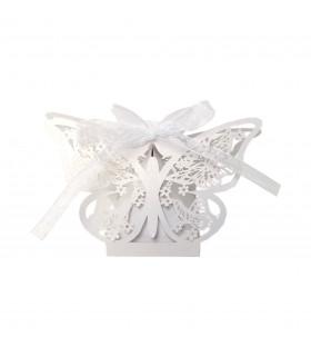 Contenant dragées papillon baptême Blanc 10 pcs