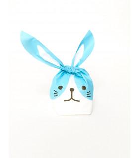 Contenant dragées grand sachet bonbon lapin Bleu 10 pcs