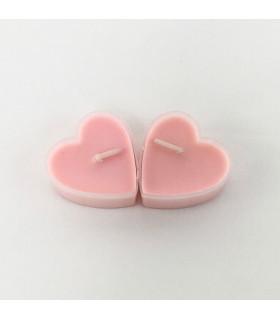 Boite de 9 bougies parfumé rose en forme de coeur Rose