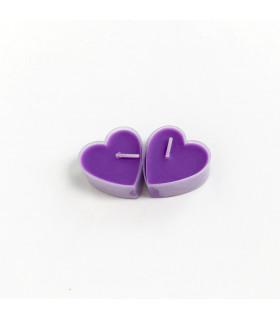 Boite de 9 bougies parfumé lavande en forme de coeur Violet