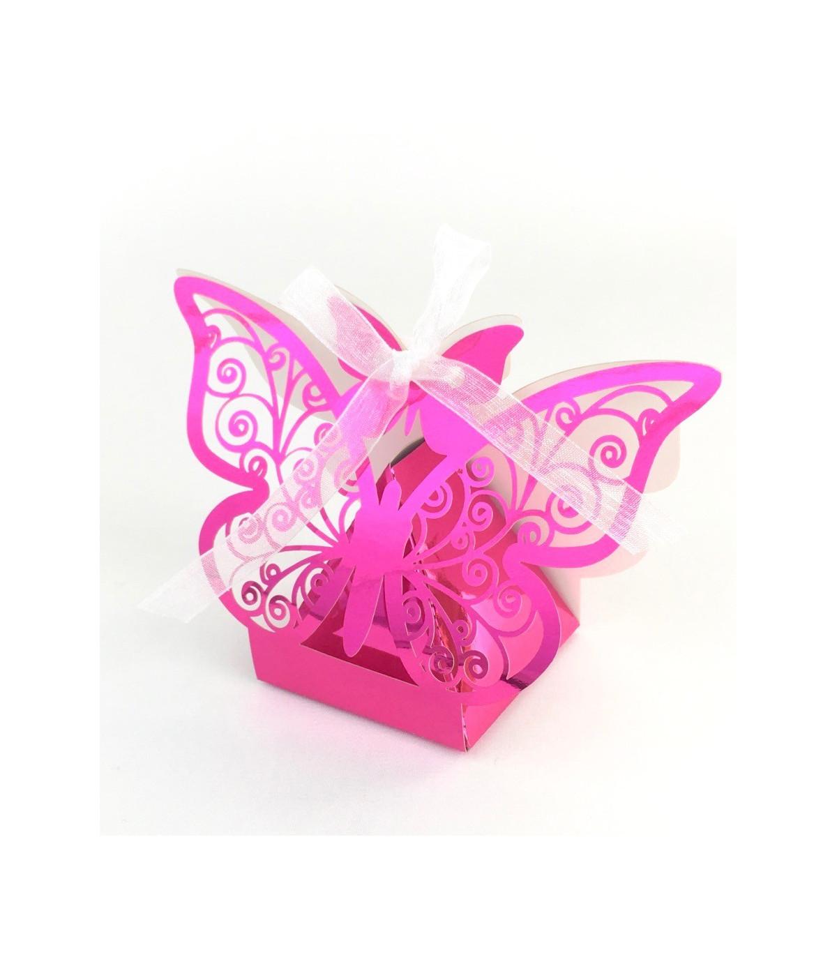 Rose Boîtes cage ajourée avec papillon Pêche Contenant à dragées lot de 5