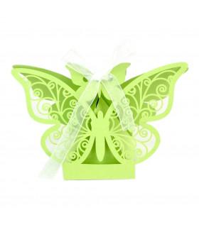 Contenant dragées papillon baptême, mariage Vert Pomme 10 pcs