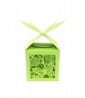 Contenant dragées cube motif papillon Vert Pomme 10 pcs