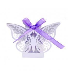 Contenant dragées papillon baptême, mariage Parme 10 pcs