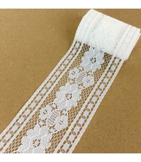Ruban dentelle motif floral 55mm x 1m Blanc