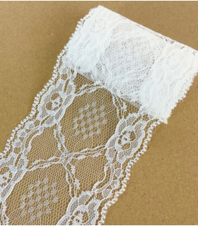 Ruban dentelle motif floral 75mm x 1m Blanc