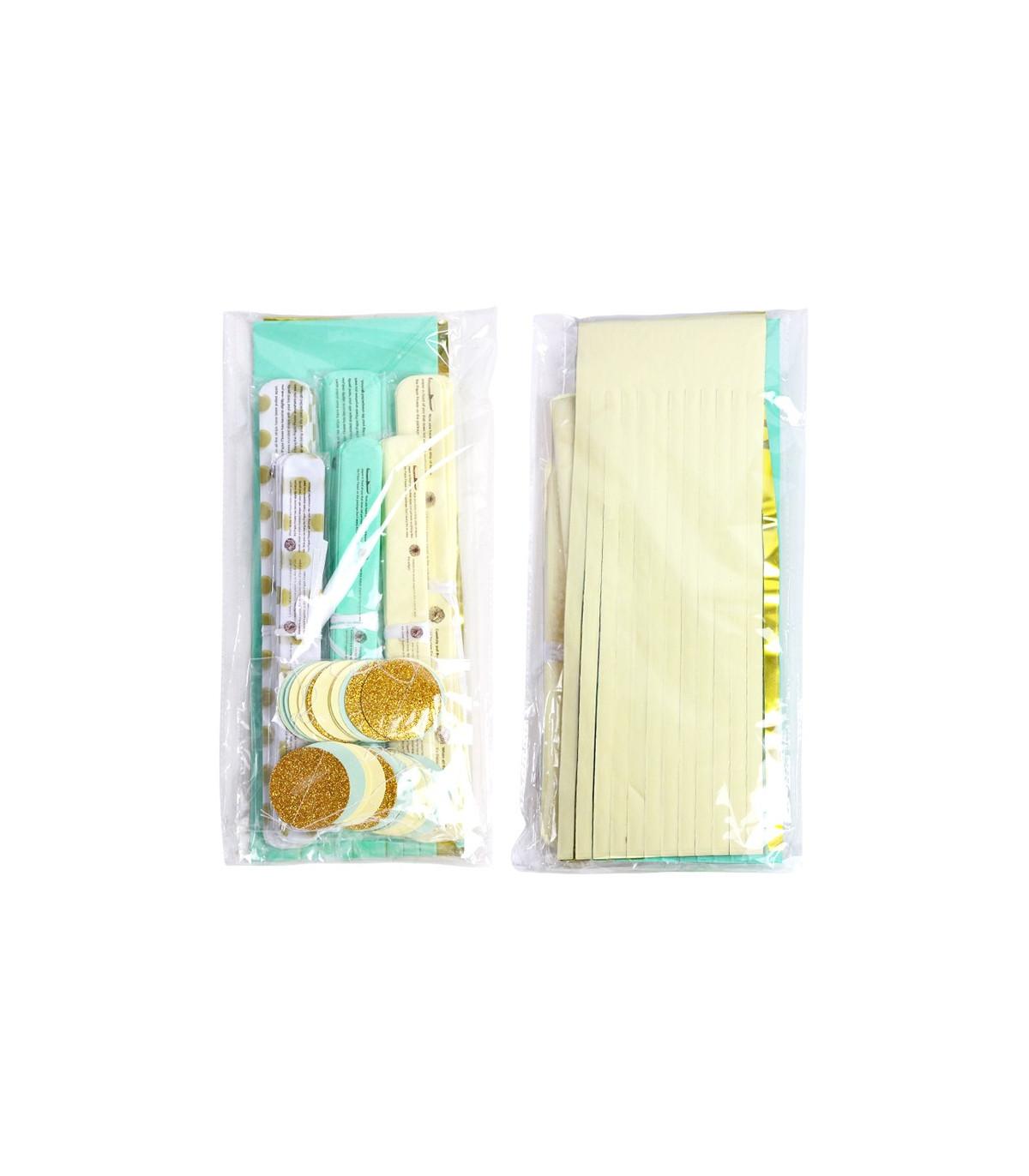 kit deco 20pcs cr me bleu pastel or pompom lampion guirlande couleur multicouleur. Black Bedroom Furniture Sets. Home Design Ideas