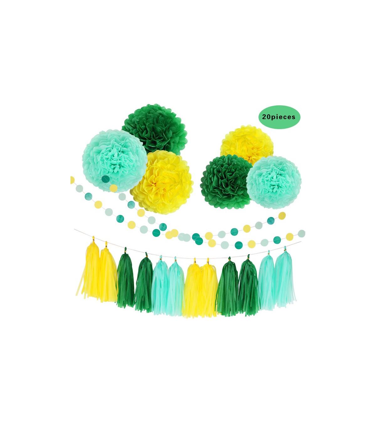 Deco Jaune Et Vert kit deco 20pcs jaune/bleu pastel/vert pompom,lampion