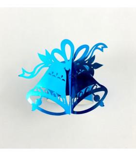 Rond de serviette cloche Noël Bleu Métallisé 12pcs