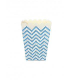 Sachet pop-corn motif chevrons Bleu 6 pcs