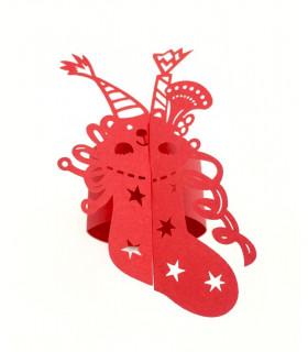 Rond de serviette chaussette Noël Rouge 12pcs