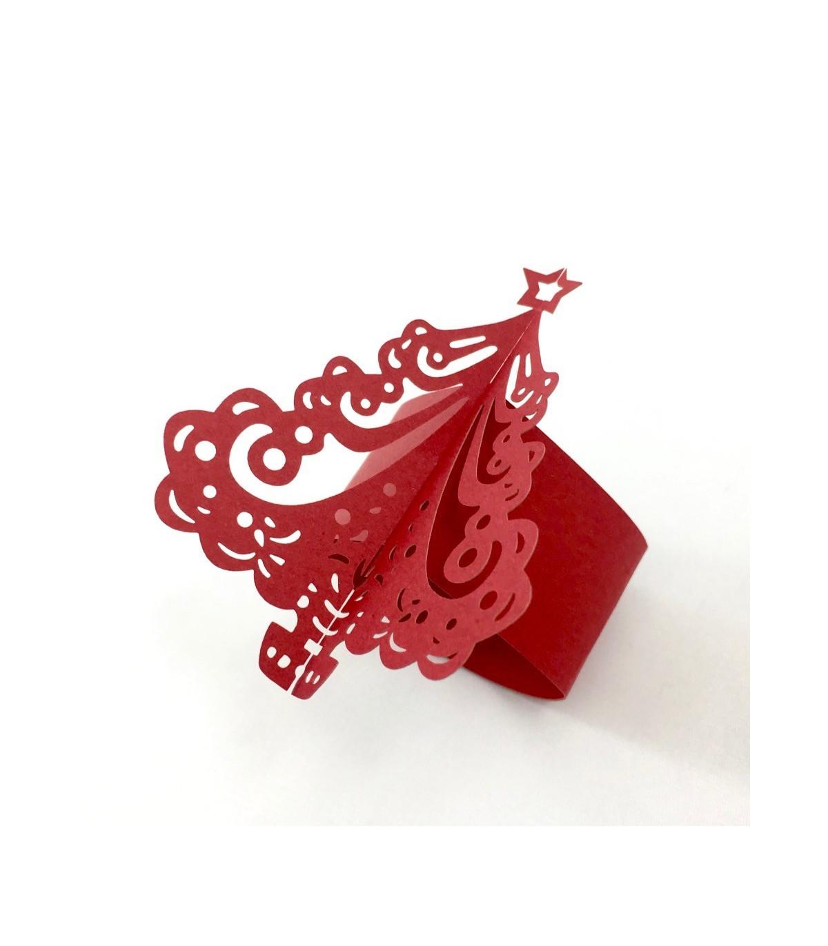 rond de serviette sapin no l rouge 12pcs couleur rouge. Black Bedroom Furniture Sets. Home Design Ideas