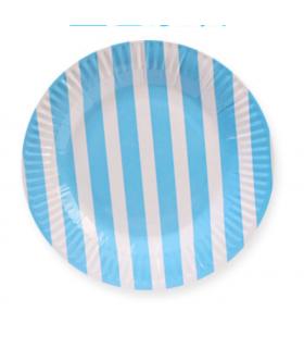 Assiettes à dessert anniversaire fêtes bleu motif rayures 10pcs