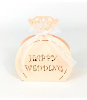 Contenant dragées happy Wedding Pêche 10pcs