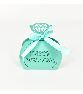 Contenant dragées happy Wedding Turquoise 10pcs