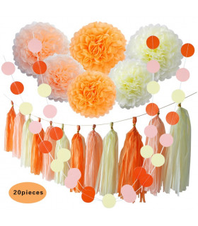 Kit deco 20pcs pompon guirlande Rose Orange et crême