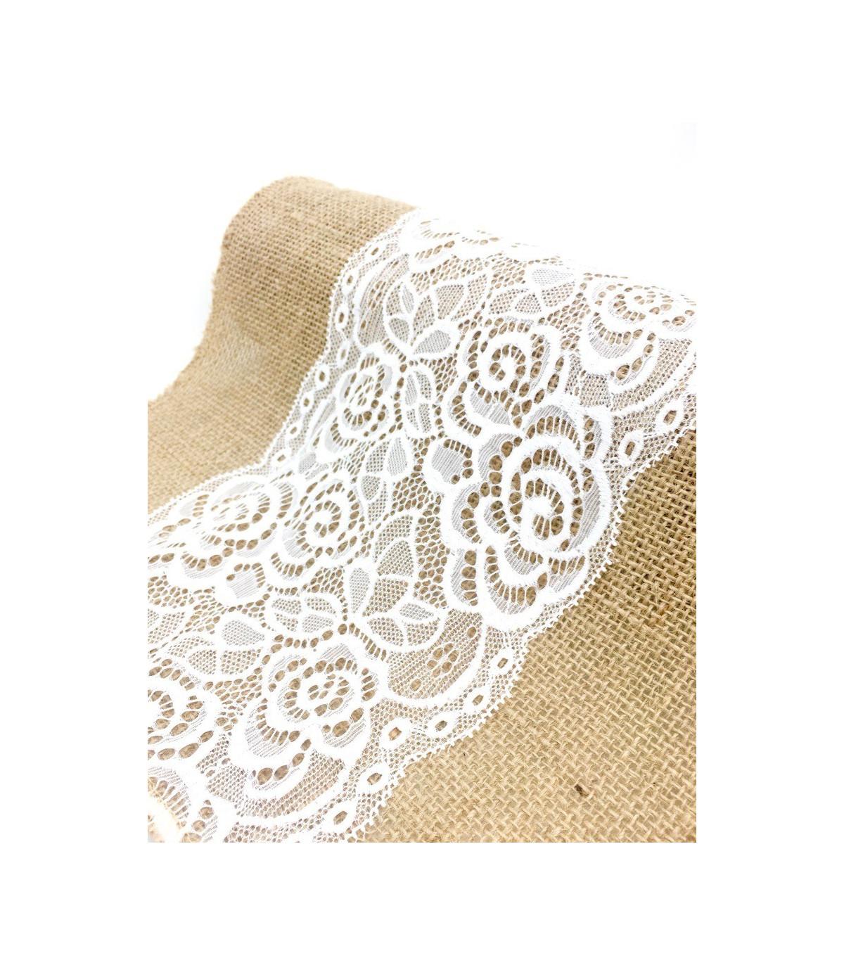 chemin de table avec dentelle brod motif florale bande central et toile de jute 2m75 couleur. Black Bedroom Furniture Sets. Home Design Ideas