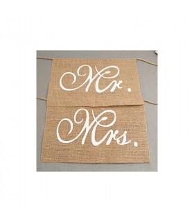 Pancartes chaise pour les mariés MRS-MR 2PCS
