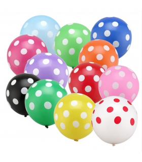 Ballon anniversaire fetes multicolore motif pois 100pcs